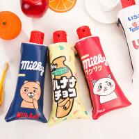 韩国个性创意牙膏造型学生笔袋可爱卡通大容量收纳袋带削笔刨
