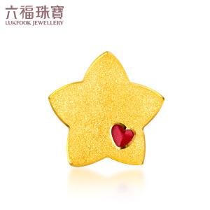 六福珠宝星星珐琅足金转运珠黄金手镯串珠手绳吊坠    HXG70228