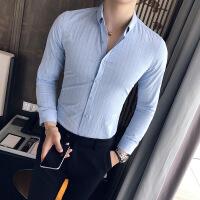 雅痞绅士风秋季条纹衬衣男装纯棉长袖衬衫韩版修身男士寸衫男精品