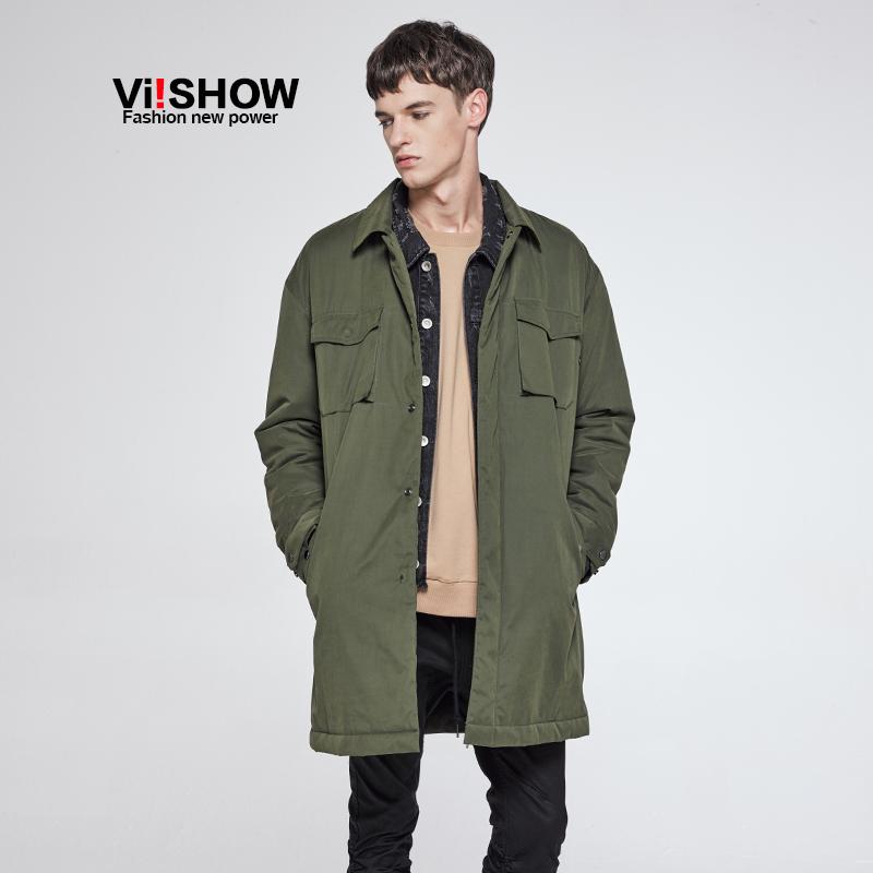 VIISHOW冬季新款棉服军绿色保暖棉衣中长款休闲外套青年棉袄满199减20 满299减30 满499减60 全场包邮