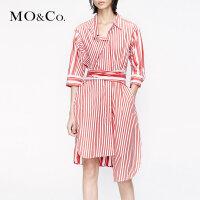 MOCO2019夏季新品纯棉个性条纹拼接连衣裙MAI2DRS024 摩安珂