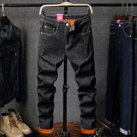 男士加绒加厚牛仔裤冬季新款潮流韩版黑色修身小脚裤子男直筒 【611款加绒】 28