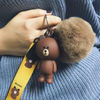 布朗熊毛球钥匙扣女韩国创意卡通可爱毛绒公仔汽车钥匙链包包挂件