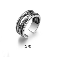 S925银戒指情侣一对女食指戒日韩简约学生百搭男链条复古 缠情女戒,银实料,