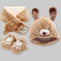 宝宝护耳帽子围巾一体冬季保暖可爱婴儿手套围脖
