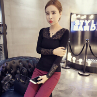 韩观保暖内衣女半中低领针织薄款时尚性感蕾丝长袖上衣单件打底衫春