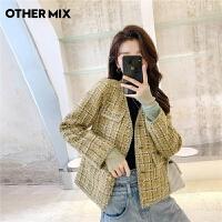 othermix小香风格子毛呢外套女短款2020冬季新款气质小个子呢大衣潮