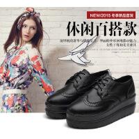 真皮布洛克雕花女单鞋英伦皮鞋春秋季镂空低帮平跟松糕皮鞋