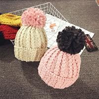 儿童帽子女冬天韩版粗线大毛球毛线帽套头帽保暖护耳帽秋季宝宝帽