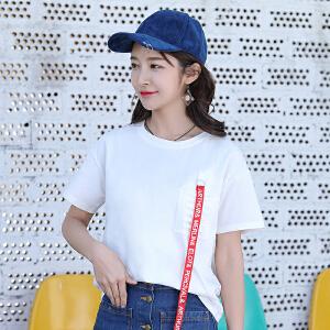 AGECENTRE 2018春夏装新款夏季白色短袖t恤女装宽松韩版学生宽松显瘦半袖上衣