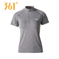 361度女装立领运动T恤弹力健身服361纯色时尚休闲上衣短袖跑步