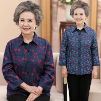 中老年妈妈装女装春夏衬衫牛仔大码七分袖开衫老年人衬衣女奶奶装