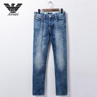 正品Armani阿玛尼 男士休闲牛仔裤舒适中腰小直脚牛仔长裤 V6J50 3U