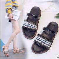 两穿波西米亚沙滩凉鞋女新款韩版百搭海边度假平底学生罗马鞋