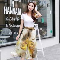 阔腿七分裤裙套装女夏时尚2018新款韩版小香风淑女气质上衣两件套