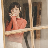 韩版针织衫秋装2019新款女长袖t恤修身显瘦小众设计感上衣打底衫