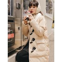棉袄外套冬季2019新款女时尚韩版宽松学生中长牛角扣面包大衣