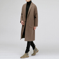 冬季新款韩版男士双面羊绒大衣 宽松呢子男中长款毛呢外套