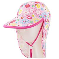 时尚儿童加长沙滩度假遮大帽檐护颈帽游泳帽女童防晒帽     可礼品卡支付