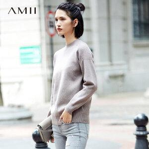 Amii[极简主义]休闲 插肩袖毛衣女 2017冬装新款直筒肌理拼接上衣