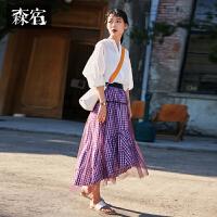 森宿夏装2018新款纯棉ins超火裙子仙女网纱拼接格子中长裙女
