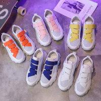 糖果色魔术贴厚底松糕透气老爹鞋运动鞋小白鞋户外运动女鞋