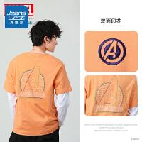 真维斯男装 2021夏季新款 漫威复仇者联盟圆领短袖印花T恤学生