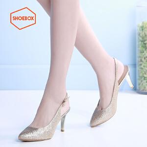 达芙妮旗下shoebox鞋柜新酒杯跟细跟女鞋性感后空套脚高跟鞋单鞋