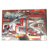 合金消防车模型玩具男升飞机场景套装玩具车孩滑行工程车摩托车直 消防车轨道