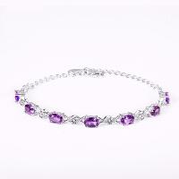 紫水晶银手链女个性925银韩版简约学生情侣闺蜜生日礼物 永恒密码-紫水晶
