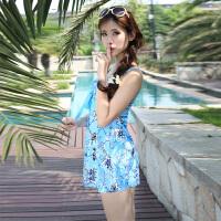 新款大胸聚拢修身泳衣大码钢托显瘦遮肚女连体裙式平角保守游泳衣 蓝色花