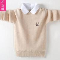 儿童衬衫领毛衣针织衫秋冬套头打底衫中大童绒厚款男孩