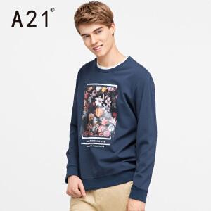 以纯A21男装时尚印花长袖套头卫衣 2017春季新品男士个性青春休闲上衣