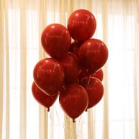 结婚婚庆用品气球婚房卧室装饰生日派对求婚告白新房婚礼场景布置 石榴红套色100个(1S)