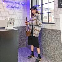 七格格半身裙a字裙高腰裙子女2019新款冬季中长款显瘦黑色伞裙潮