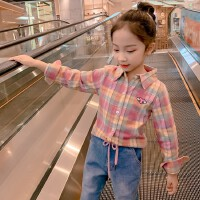 女童衬衫春秋中大童格子衬衣时髦小女孩上衣长袖