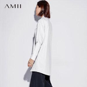 Amii极简港味复古衬衫女撞色2018秋款宽松polo领长袖中长款上衣潮
