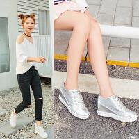 平底内增高小白鞋女系带秋季新款板鞋百搭白色板鞋运动鞋厚底单鞋Y75044766