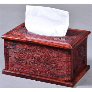 大红酸枝龙凤图案纸巾盒20 13 11