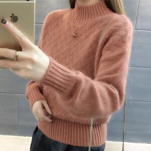 【热卖毛衣】RANJU然聚 2018春夏女装新品新款短款毛衣女韩版宽松半高领纯色麻花套头打底针织衫