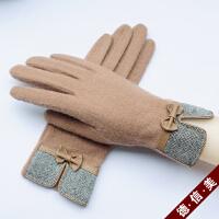 骑行短款女士羊毛羊绒手套保暖触屏薄款分指全指