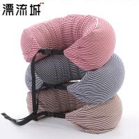 U型枕头护颈枕无印颈部靠枕泡沫粒子良品午睡枕脖子颈椎枕