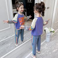 女童套装春秋女孩春装潮卫衣牛仔裤子儿童两件套