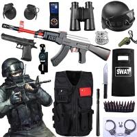 儿童电动玩具枪套装 cos小军人mp5特警军事仿真道具男孩生日礼物 +双用AK47