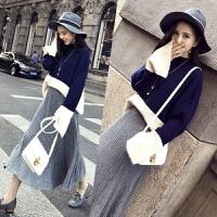 秋冬新款韩版圆领宽松拼色针织套头毛衣中长半身裙两件套女潮 均码