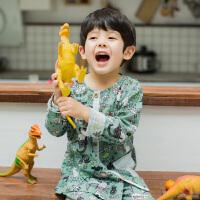 夏天宝宝薄款纯棉空调房男童纱布长袖家居服套装儿童睡衣男孩 MS3772 绿底 小恐龙