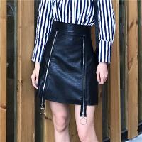春夏新款女装气质拉链高腰显瘦PU皮裙A字半身裙学生包臀短裙女
