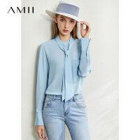 【券后预估价:275元】Amii极简5A真丝绑带100%桑蚕丝衬衫2020秋新款宽松长袖衬衣上衣女