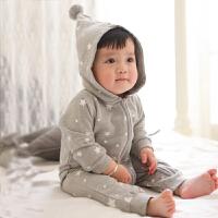 婴儿连体衣服0-3个月女宝宝男新生儿冬装春秋装秋冬季哈衣外出服