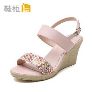 达芙妮集团 鞋柜欧美女鞋 一字式扣带坡跟凉鞋拼色高跟鞋